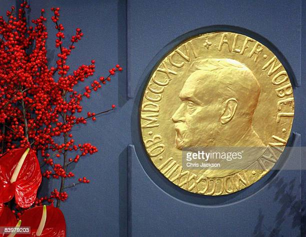 Plaque depicting Alfred Nobel at the Nobel Peace Prize Ceremony 2008 in Oslo City Hall on December 10, 2008 in Oslo, Norway. The Norwegian Nobel...