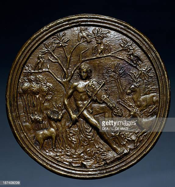 Plaque depicting Orpheus charming the animals from the Master of Orpheus clear brown patinated bronze Italy 15th century Rome Museo Di Palazzo Venezia
