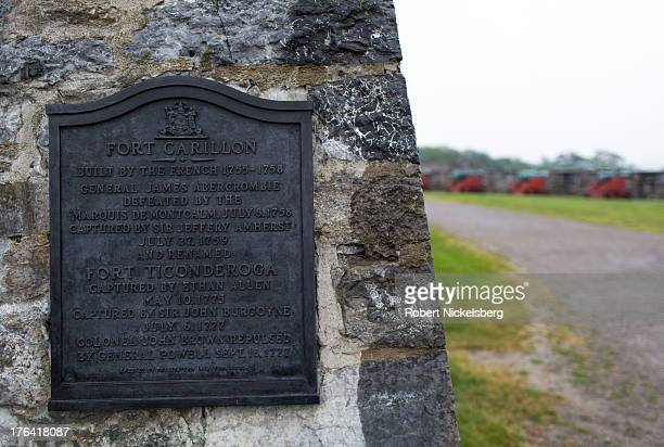 A plaque describes the history of Fort Ticonderoga August 1 2013 in Ticonderoga New York The large 18thcentury fort was built and completed by the...
