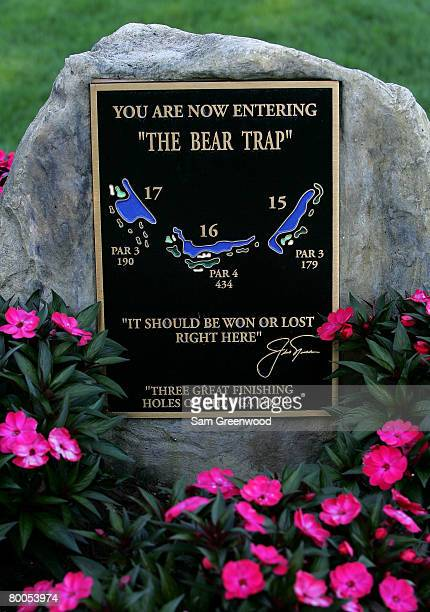 A plaque describing The Bear Trap is displayed during the first round of the Honda Classic at PGA National Resort and Spa on February 28 2008 in Palm...