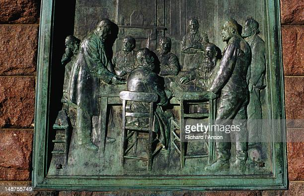 a plaque detail from the statue of paul kruger, a leader of the boers, in church square - pretoria stock pictures, royalty-free photos & images