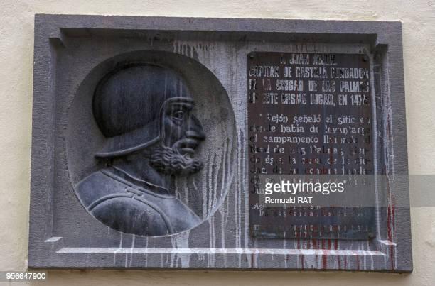 Plaque en métal représentant le buste de Juan Rejun colon de l'île de la Grande Canarie en juillet 2000 en Espagne