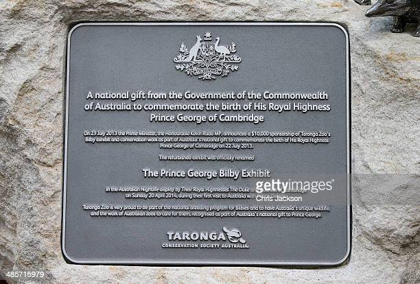 A plaque for the new Bilby Enclosure at Taronga Zoo on April 20 2014 in Sydney Australia The Duke and Duchess of Cambridge are on a threeweek tour of...