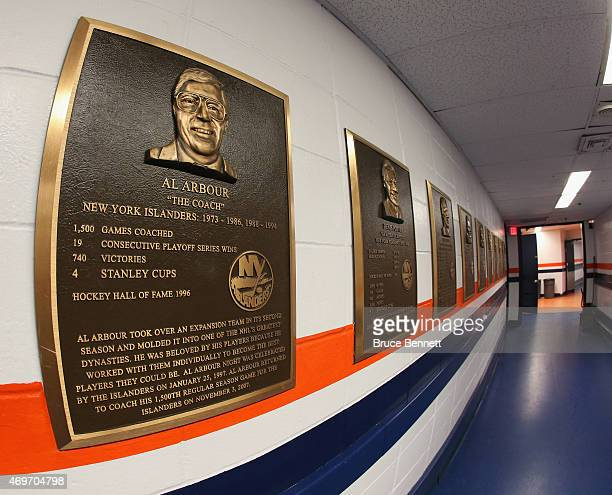 A plaque honoring Al Arbour hangs along the corridor just outside of the dressing room at the Nassau Veterans Memorial Coliseum on April 11 2015 in...