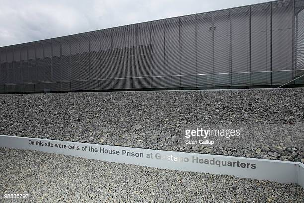 A plaque indicates the location of prison cells of the original Gestapo building outside the Topography of Terror documentation center and museum on...