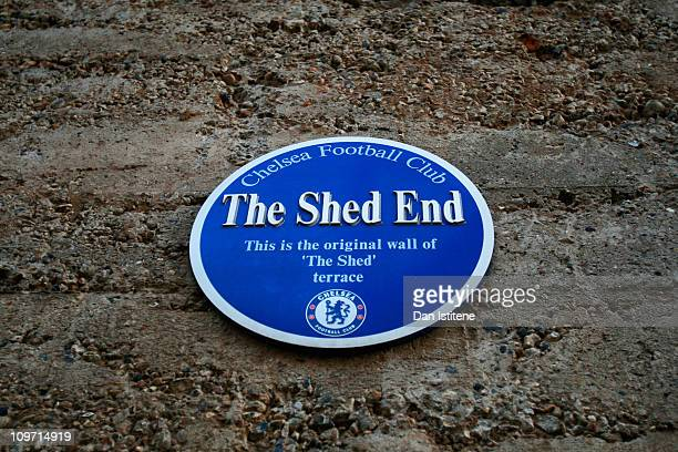 A plaque indicates the original wall of 'The Shed' terrace outside of the stadium ahead of the FA Youth Cup sponsored by Eon sixth round match...