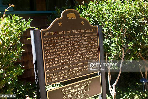 Plaque is displayed in front of the former home of Hewlett-Packard founders Bill Hewlett and Dave Packard where the company first started in 1938....
