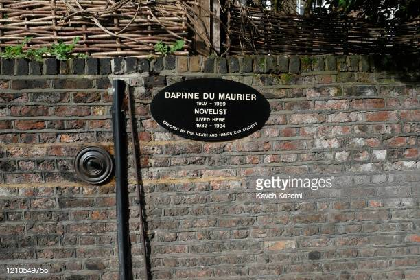 A plaque is posted on the wall outside the house of famous novelist Daphne du Maurier in Hampstead village on November 3 2019 in London United Kingdom