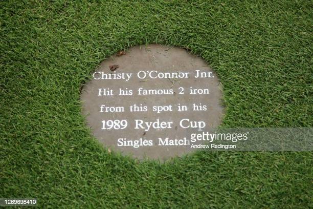 Plaque is seen on the 18th hole to mark Christy O'Connor Jnr's 2 iron in the 1989 Ryder Cup during Day 4 of the ISPS HANDA UK Championship at The...