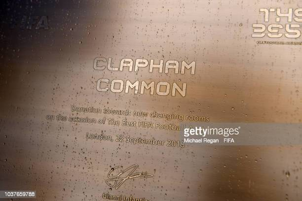 A plaque is unveiled at Clapham Common during FIFA Legends Fan Activity as part of The Best FIFA Football Awards at Clapham Common on September 22...