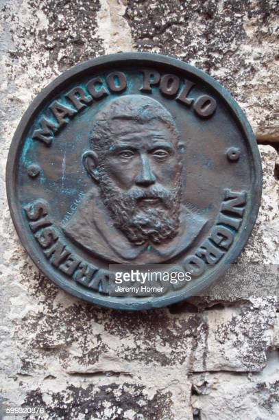 plaque marking marco polo's birthplace - marco polo stock pictures, royalty-free photos & images