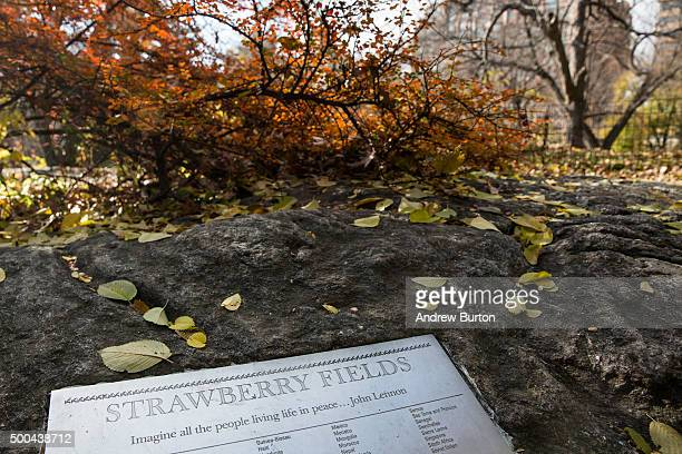 A plaque marking the Strawberry Fields area of Central Park which was created in tribute to the late musician John Lennon is seen on the 35year...
