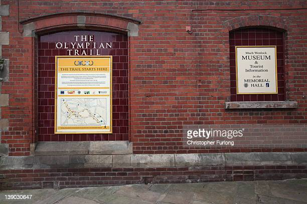 A plaque marks the beginning of the Olympic Trail around the town of Much Wenlock the birthplace of the modern Olympics on February 15 2012 in Much...
