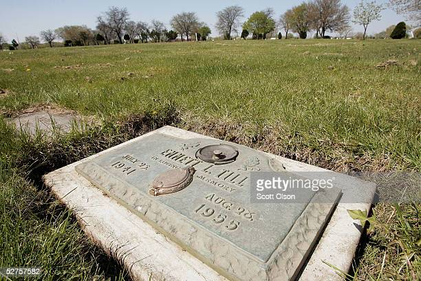 A plaque marks the gravesite of Emmett Till at Burr Oak Cemetery May 4 2005 in Aslip Illinois The FBI is considering exhuming the body of Till whose...