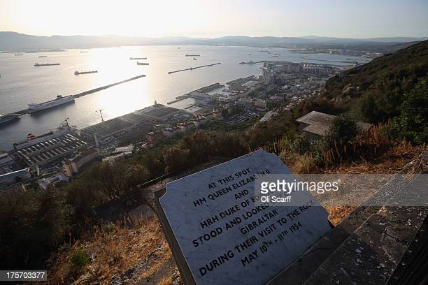 A plaque marks the spot where Queen Elizabeth II viewed the town of Gibraltar from the 'Upper Rock Nature Reserve' on the Rock of Gibraltar during...
