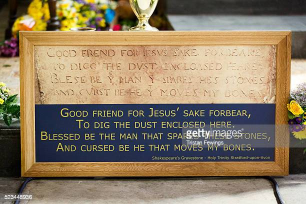 Plaque marks William Shakespeare's in Holy Trinity Church during the Shakespeare Birthday Celebration Parade on April 23, 2016 in...