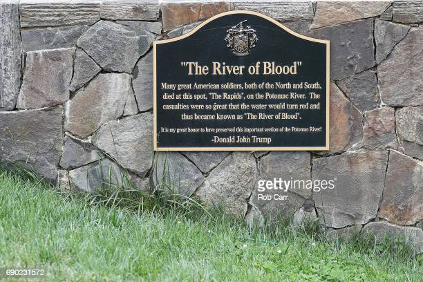 A plaque near the 15th green during Round 1 of the Senior PGA Championship at Trump National Golf Club on May 25 2017 in Sterling Virgina