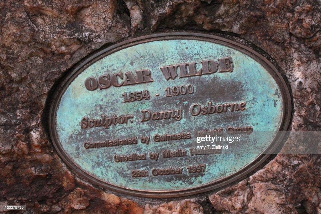 A plaque near the statue of Irish writer Oscar Wilde (1854 - 1900) in Merrion Square Park, Dublin, 1st December 2011.