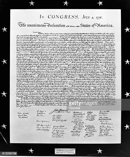Plaque of the Declaration of Independence, signed by the forefathers of the United States of America on July 4, 1776.