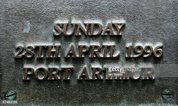 A plaque on on the Port Arthur memorial site is seen during a commemoration service to mark the 10th aniversary of the massacre April 28 2006 in Port...