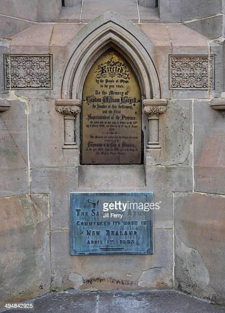 Plaque on the Cargills monument in Dunedin One is a memorial to Captain William Cargill the other commemorates the commencement of the Salvation Army...