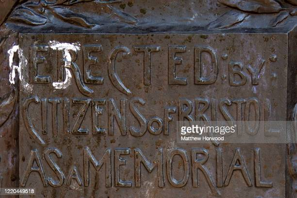 A plaque on the Edward Colston statue plinth has been painted to read rejected by the citizens of Bristol on June 16 2020 in Bristol England A statue...