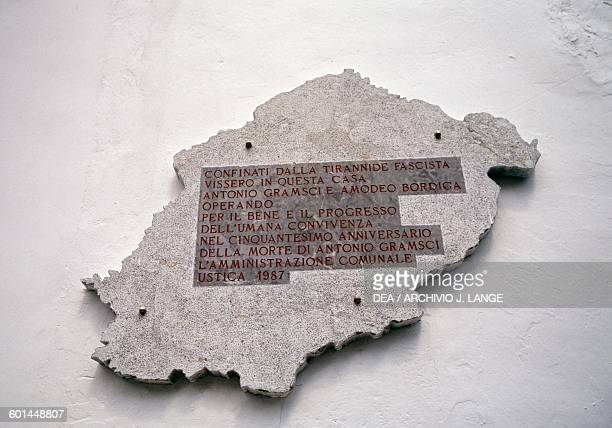 Plaque on the house that was home to Antonio Gramsci and Amadeo Bordiga leaders of the Italian Communist Party exiled on the island Ustica Sicily...