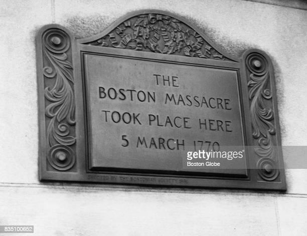 A plaque on the site of the Boston Massacre in Boston March 4 1965