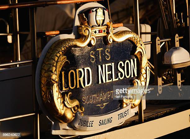 A plaque onboard the Lord Nelson ship is seen during the North Sea Tall Ships Regatta on August 27 2016 in Blyth England The bustling port town in...