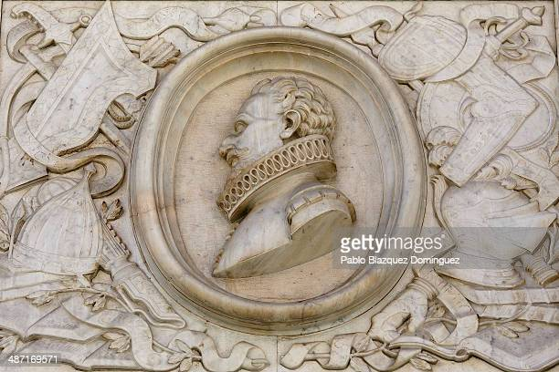 A plaque showing a bust in relief of writer Miguel de Cervantes is pictured on a wall outside Convento de las Trinitarias Descalzas on April 28 2014...