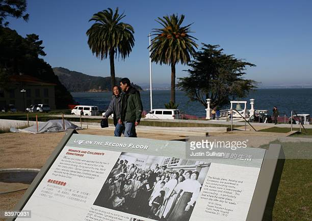 A plaque sits in the footprint of the former administration building at the Angel Island Immigration Station during a media preview December 9 2008...