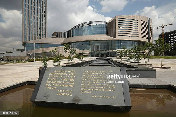A plaque stands outside the headquarters complex of the African Union which was a gift by the government of China and completed in 2012 on March 18...