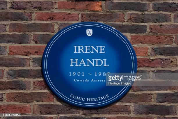 Plaque Teddington Studios Blue plaque outside Teddington Studios commemorating Irene Handel comedy actress one of the performers who had worked on...
