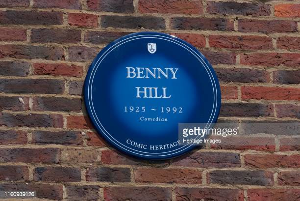 Plaque Teddington Studios Blue plaque outside Teddington Studios commemorating Benny Hill comedian one of the performers who had worked on the...