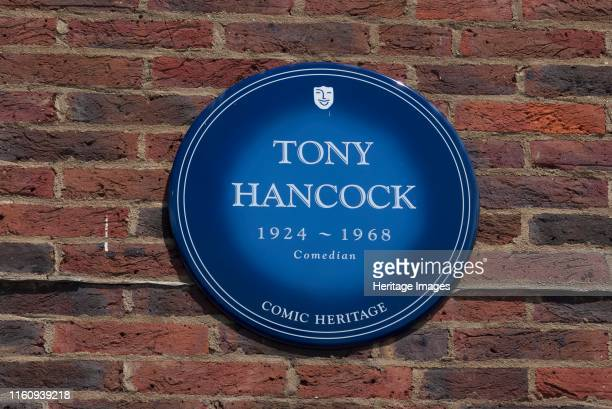 Plaque Teddington Studios Blue plaque outside Teddington Studios commemorating Tony Hancock comedian one of the performers who had worked on the...