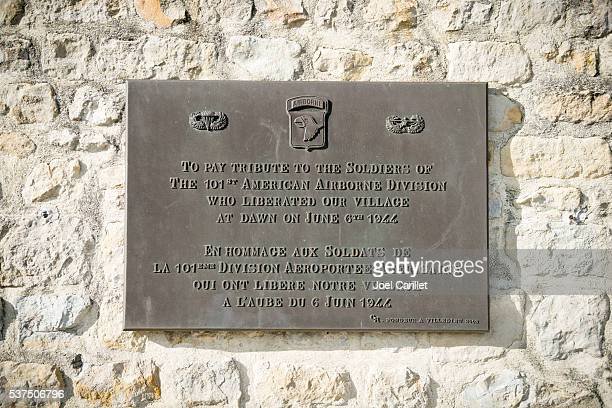 Plaque thanking 101st Airborne Division in Normandy
