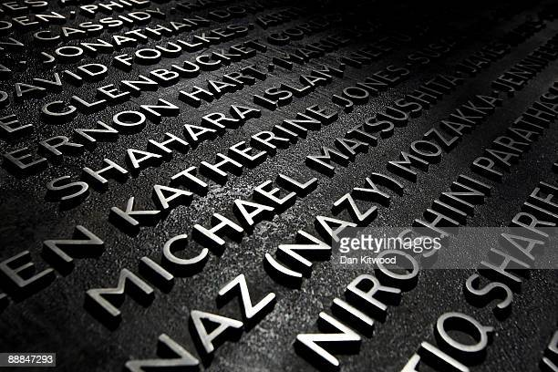 A plaque with the names of the victims of the July 7 London bombings lays in Hyde park on July 6 2009 in London England The plaque sits next to a...