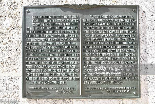 A plaque with the United States' Declaration of Independence is seen on a wall at the US embassy in Havana the former US Interest Section taken on...