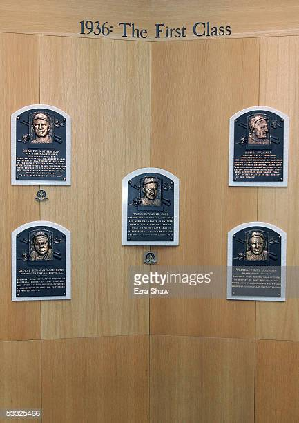 Plaques commemorate baseball legends at the induciton of 38 new members to the the National Baseball Hall of Fame and Museum on July 29, 2005 in...