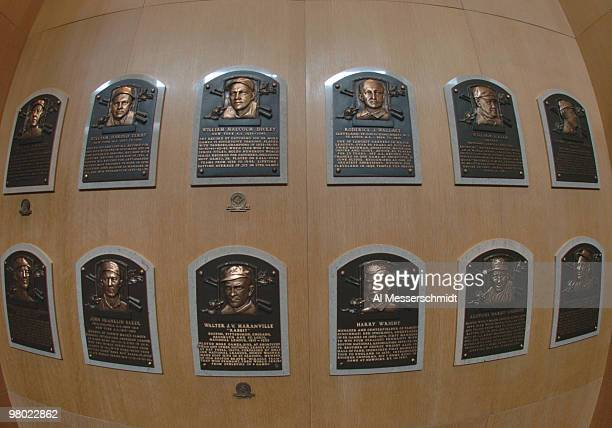 Plaques identify inductees into the Baseball Hall of Fame and Museum July 25 2004 in Cooperstown New York