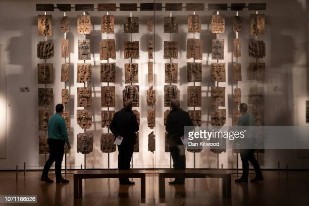 Plaques that form part of the Benin Bronzes are displayed at The British Museum on November 22, 2018 in London, England. The British Museum has...