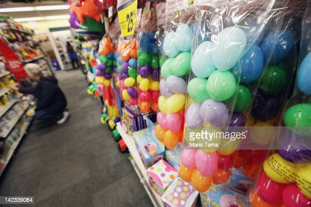 Plasitc Easter eggs are displayed in a Manhattan store on April 2 2012 in New York City Consumers are projected to spend 11 percent more money than...