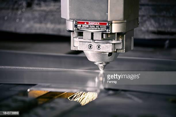 Plasma laser metal cutting machine in operation