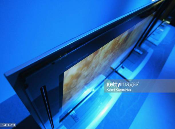 A plasma screen made by Panasonic part of the Matsushita Electric Industrial Co Ltd is seen August 21 2003 in Tokyo Panasonic introduced the new...