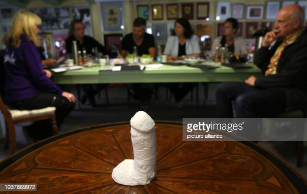Plaster cast of US guitarist Jimi Hendrix's penis is presented by the Zappanale organisation at a press conference in Bad Doberan, Germany, 10 July...