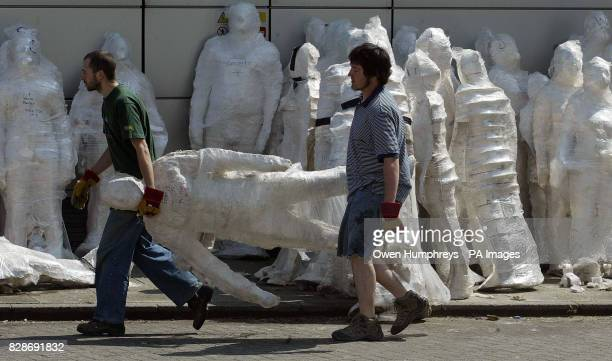 Plaster casts used by sculpter and artist Antony Gormleyto make his 'Domain Field' exhibition which he unveiled at the Baltic Gallery in Gatehead *...