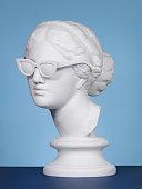 Plaster head wearing sunglasses