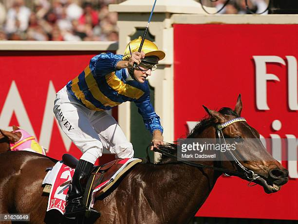 Plastered ridden by Paul Harvey wins the AAMI Victoria Derby during the AAMI Victoria Derby Day at Flemington Racecourse October 30 2004 in Melbourne...