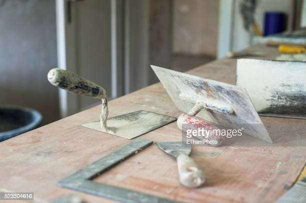 plasterer's tools - reform stock pictures, royalty-free photos & images
