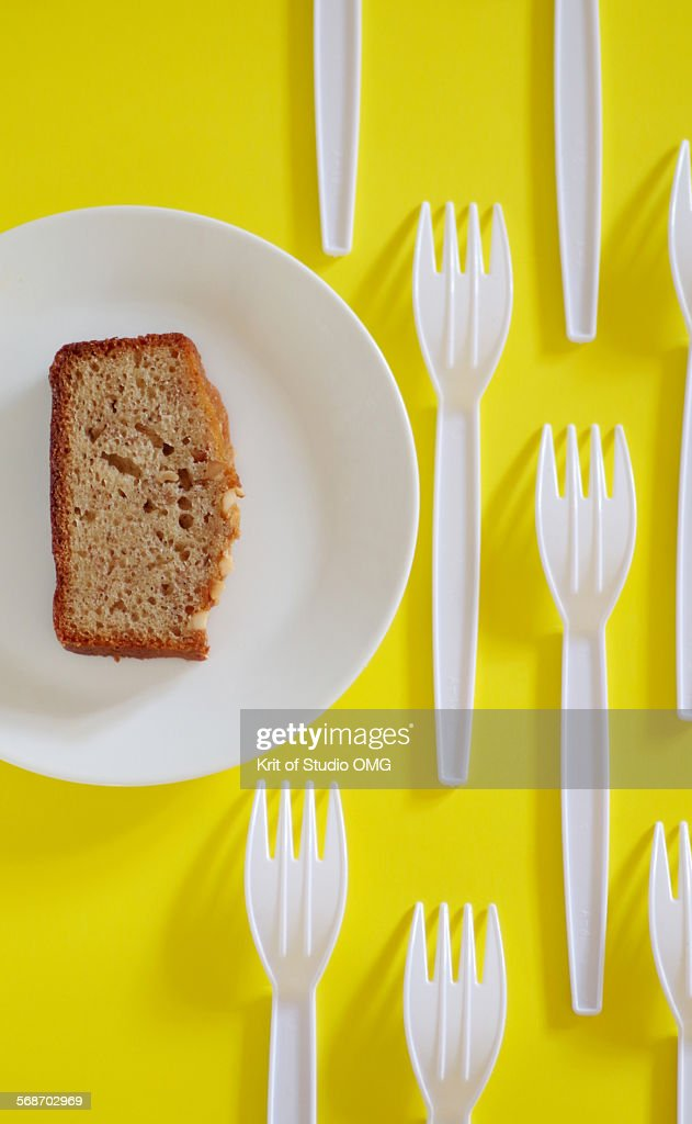 Plastic and eating : Stock Photo